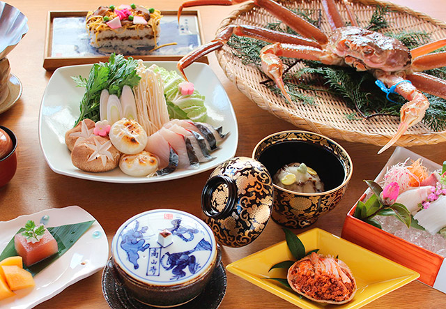 とり松の「よくばり蟹会席」丹後松葉蟹と創作料理